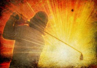 golfer on grunge