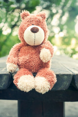 Lonely forgotten teddy bear toy. Awaiting for owner.