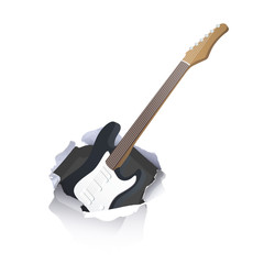 Guitar inside hole paper over white background