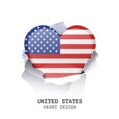 UK heart inside hole paper over white background