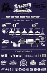 Brewery infographics with beer elements & icons dark
