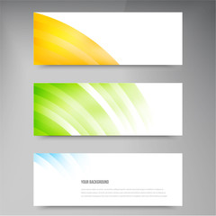 Set of modern vector banners with lines