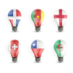 Set of realistic flag bulb isolated over white. Vector design.