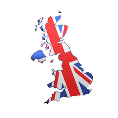 United Kingdom over white background