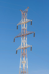 High-voltage support against the sky