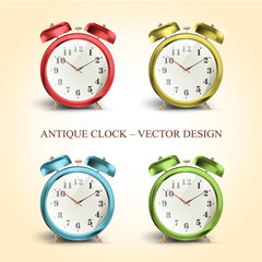 Set of colorful vintage table clocks over white background