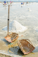 Sea salt harvesting in Thailand