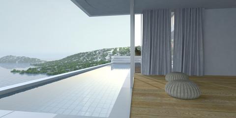Wooden deck and pool overlooking the ocean