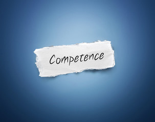 Scrap of paper with the word - Competence