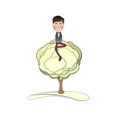 Businessman with tree over isolated white background