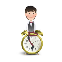 Businessman with vintage clock over white background