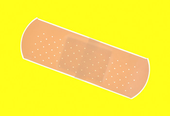 Single sticky bandage on yellow background