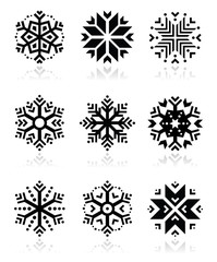 Snowflakes icon set on black and white background