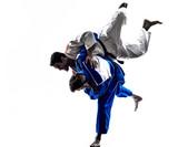 Fototapety judokas fighters fighting men silhouette