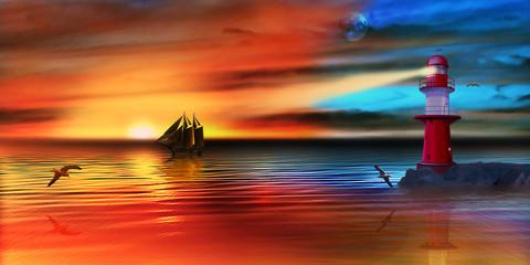 Segelschiff und Leuchtturm im Sonnenuntergang