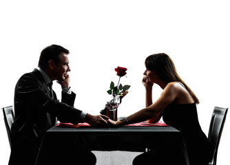 couples lovers dating dinner silhouettes