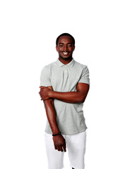 Portrait of a happy african man isolated on a white background