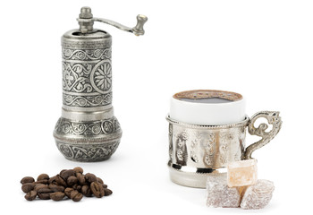 Turkish Coffee, Grinder and Delight
