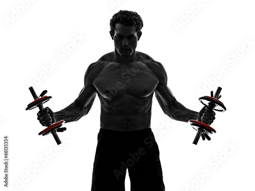 canvas print picture man weights body builders training  exercises