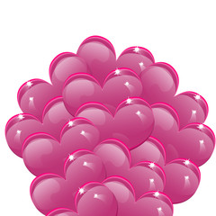 Balloons in the shape of pink hearts