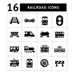 Set icons of railroad and train