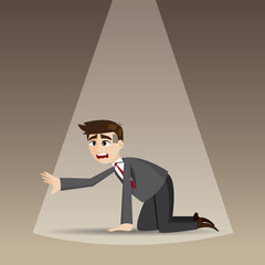 cartoon hopeless businessman kneel on floor