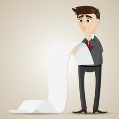 cartoon businessman looking at long document