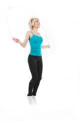 aged woman with jumping rope on white.