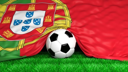 Soccer ball with Portuguese flag on football field closeup