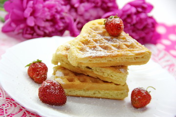 Waffels and berries