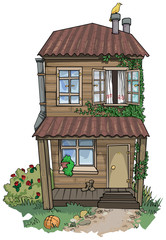 Old cute hand drawn house