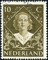 stamp printed in Netherlands shows portrait of Queen Juliana
