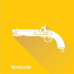vector vintage pistol gun icon on orange