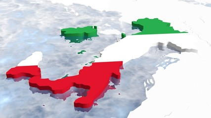 3d map of the italy national flag textured