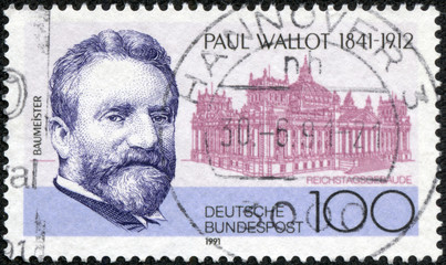 stamp printed in the Germany, shows Paul Wallot