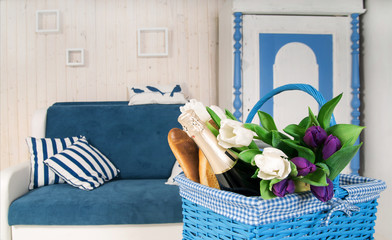 White-blue interior with flowers