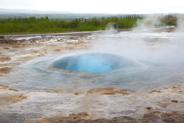 Bubble appear  before the eruption of the geyser Strokkur
