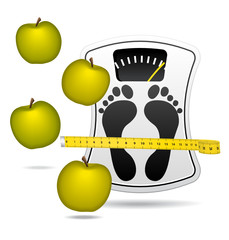 White bathroom scale with apples.