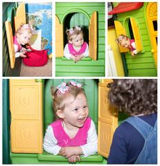 Little child girl playing in kindergarten in Montessori