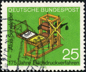 stamp shows Senefelder s Lithography Press
