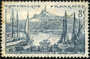 stamp printed in the France shows Port Marseilles