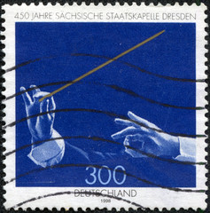 stamp printed by Germany, shows Saxony State Orchestra Dresden