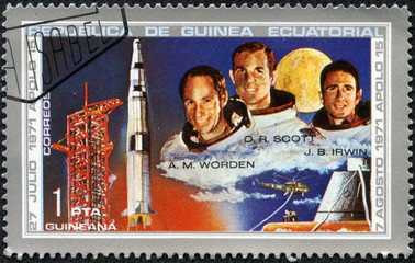 stamp printed by Equatorial Guinea, shows astronaut