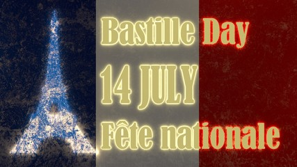france national holiday text on flag backdrop