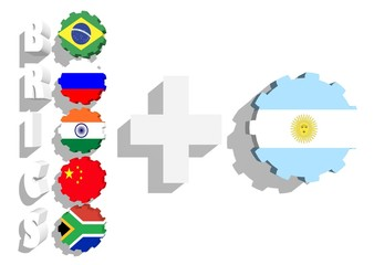 brics union members flags on gears and argentina plus