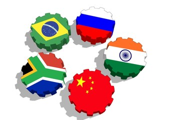 brics union members flags on gears