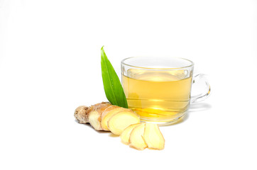 Tea with Ginger Root isolate on white background
