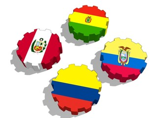 andean community of nations union members flags on gears
