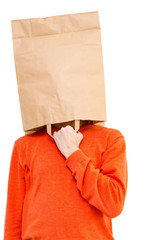 Man  in paper bag on head