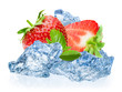Strawberry with ice isolated on white background
